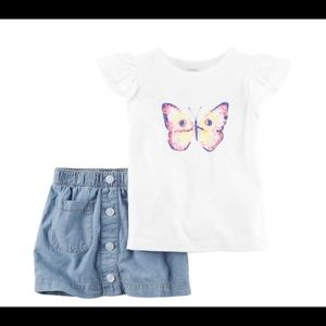 Carters girl's 2pcs top and skirt with short 6/6X